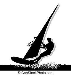 Windsurfing Sportsman Silhouette - Silhouette of Sportsman...