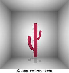 Cactus simple sign. Bordo icon with shadow in the room.