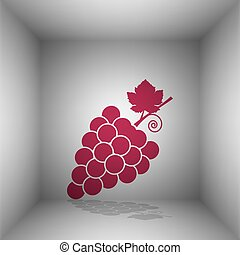 Grapes sign illustration. Bordo icon with shadow in the...