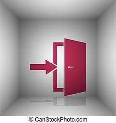 Door Exit sign. Bordo icon with shadow in the room.