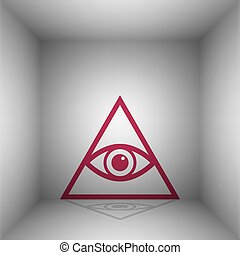 All seeing eye pyramid symbol. Freemason and spiritual. Bordo icon with shadow in the room.