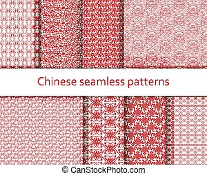 Traditional Chinese seamless patterns set. Detailed decorative motifs. Red and white colors. Vector illustration.