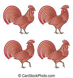 Creative stylized roosters in red and golden colors. Good for logo, tattoo, t-shirt design. Animal background. Vector illustration