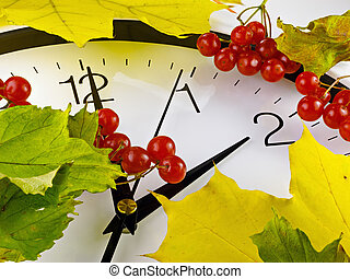 Fall back, winter time. Clock with viburnum and leaves.