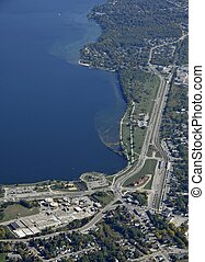 Barrie Ontario South shore, aerial - aerial view of an urban...