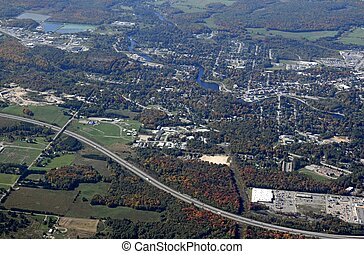 Bracebridge. Ontario aerial - aerial view of an urban...