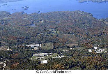 Bracebridge Ontario, aerial - aerial view of a small town in...