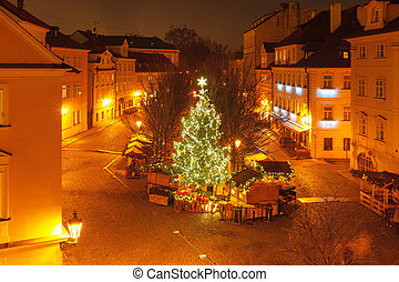 Cristmas Old Town square in Prague, Czech Republic -...
