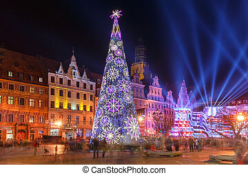 Light laser show on Market Square, Wroclaw, Poland -...