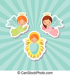 cartoon angels and baby jesus - cartoon angels with baby...
