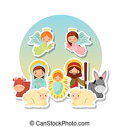 holy family design - cartoon holy family with angels and...