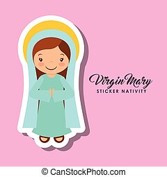 virgen mary sticker - cartoon cute virgin mary character...