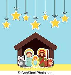 holy famiily design - holy family in manger scene over blue...