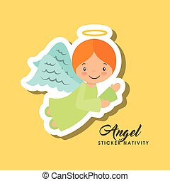 angel sticker nativity - cartoon cute angel character over...