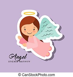 angel sticker nativity - cartoon cute angel character over...