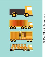 import and export design - differents types of cargo trucks...