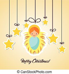 merry christmas design - cartoon cute baby jesus with...