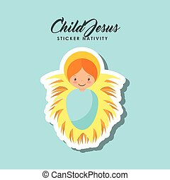child jesus sticker - cartoon cute child jesus over blue...