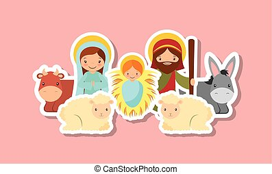 holy family design - holy family with animals over pink...