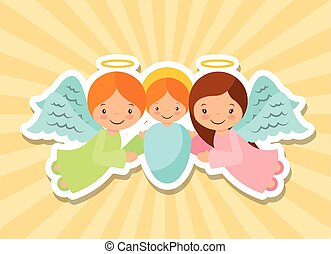 merry christmas design - cartoon baby jesus with angels over...