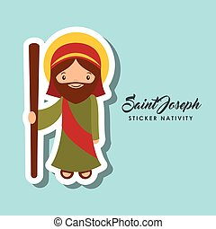 saint joseph sticker - cartoon cute saint joseph character...