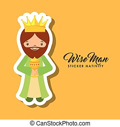 wise man sticker nativity - cartoon wise man sticker...