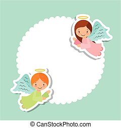 angels card design - cute cartoon angels card over white and...