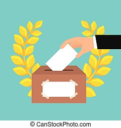 election vote design - human hand with election paper and...