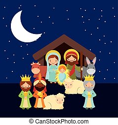 holy family design - holy family with animals over night...