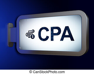 Business concept: CPA and Calculator on billboard background...