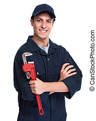Plumber. - Handsome plumber with wrench isolated white...