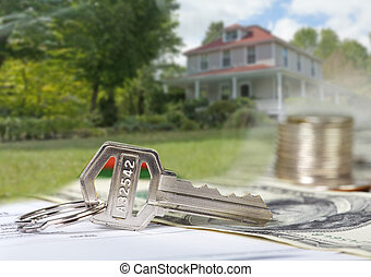 House key. - House key and money american dollars. Real...