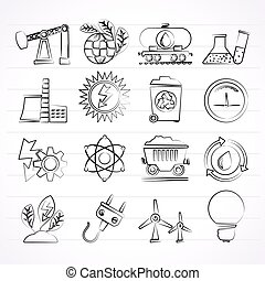 power and energy production icons