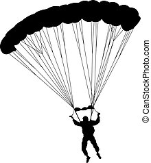 The Skydiver silhouettes parachuting a vector illustration....