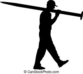 Silhouette Porter carrying the large nail in his hands, vector illustration