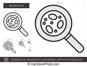 Bacteria line icon. - Bacteria vector line icon isolated on...