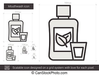 Mouthwash line icon. - Mouthwash vector line icon isolated...