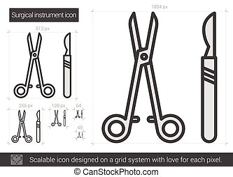 Surgical instruments line icon. - Surgical instruments...