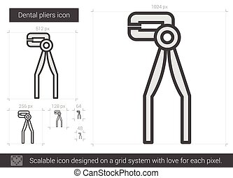 Dental pliers line icon.