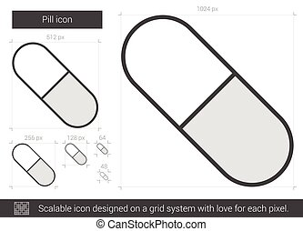 Pill line icon. - Pill vector line icon isolated on white...
