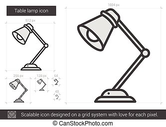 Table lamp line icon. - Table lamp vector line icon isolated...