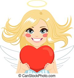 Angel With Heart - Beautiful blonde young angel with red...