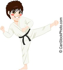 Karate Kid Kick - Young teenager black belt karate kid...