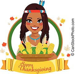 Thanksgiving Native American Woman - Beautiful young native...