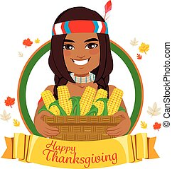 Thanksgiving Native American - Young native American man on...