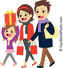 Family Going Christmas Shopping - Cute happy family going...