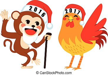 New Year Goodbye Concept - Old 2016 Chinese zodiac monkey...
