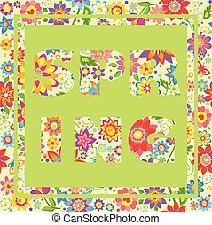 Flowers colorful  wallpaper with printed spring lennering