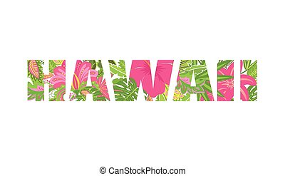Shirt print with tropical leaves and flowers lettering...
