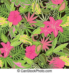 Tropical wallpaper with exotic leaves and flowers